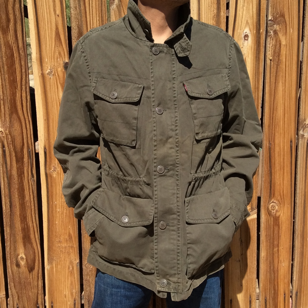 Levis Military Style Army Green Field Jacket Coat Depop