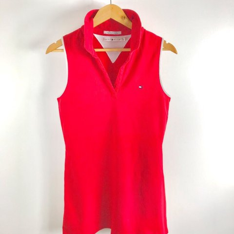 512de791cb42a8 VTG Tommy Hilfiger Tennis Top Bright Red. White Sleeve Tips. - Depop
