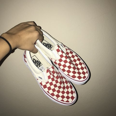 20a1fb63d9 Red and White Checkered Vans  ) Size 6 men s 7.5 women s No - Depop