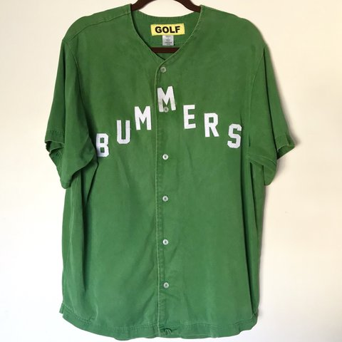568baed3a66b Golf Wang Bummers Baseball Jersey Green  ON HOLD  Condition  - Depop