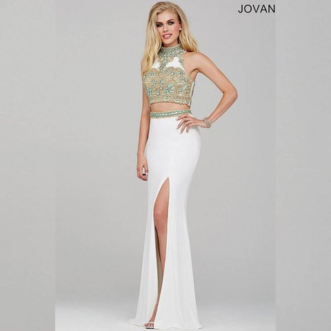 Jovani white 2 piece prom dress. Worn once. Size 0. Original - Depop