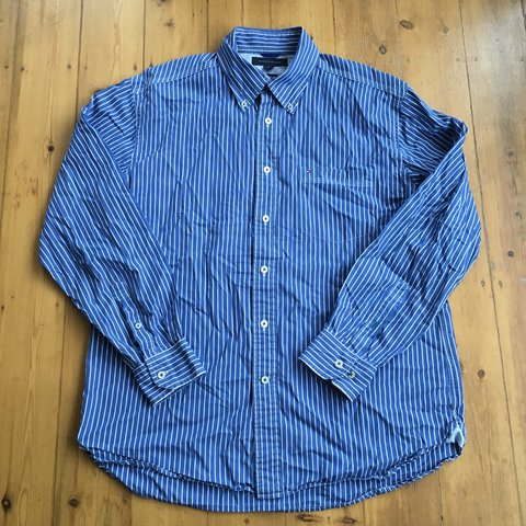 c94c95aa @missileboy. 2 years ago. Bedford, United Kingdom. Tommy Hilfiger Long  Sleeve Shirt Size Large Blue shirt with white vertical stripe. Featuring Button  Down ...