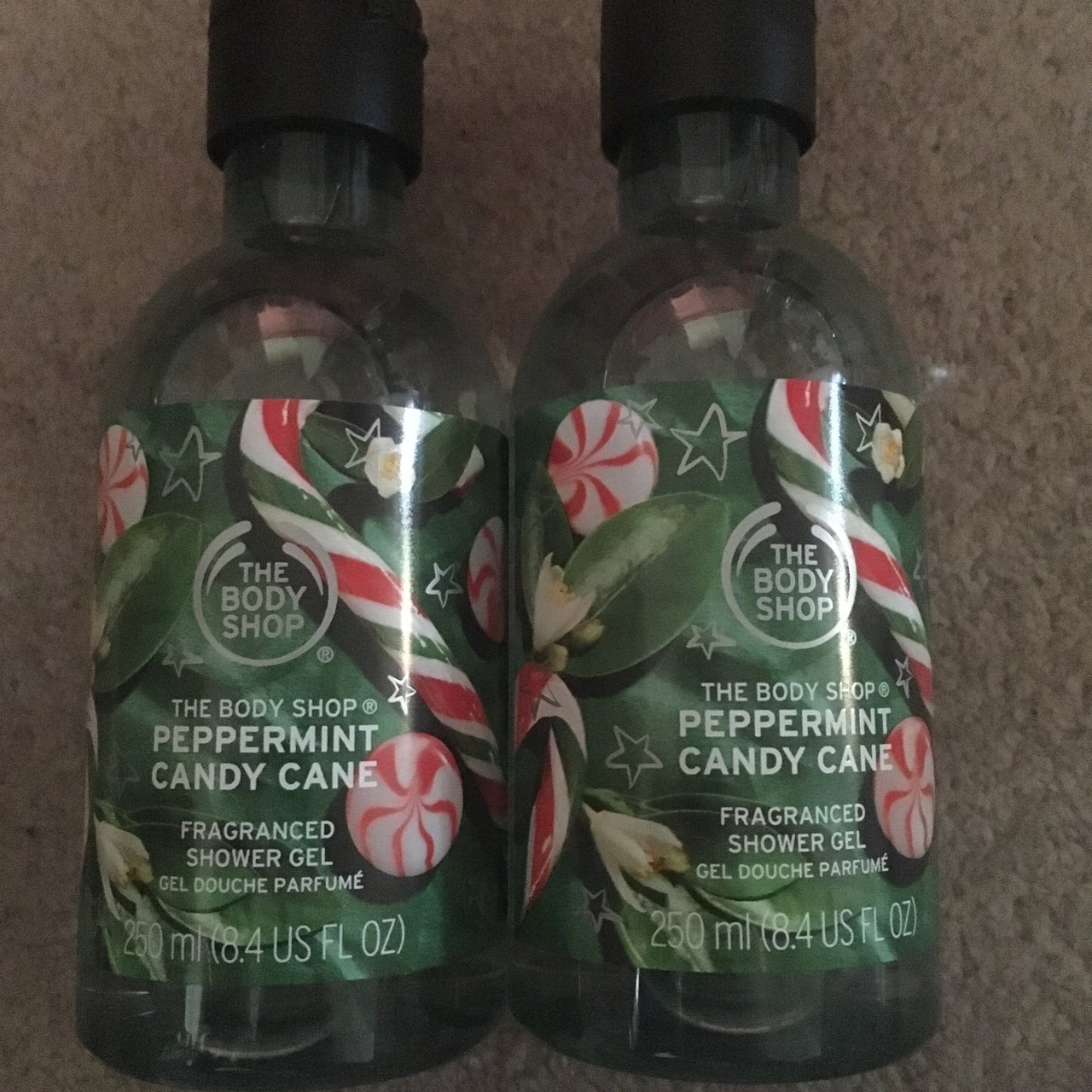 2 X The Bodyshop Peppermint Candy Cane Shower Gels New For X Depop