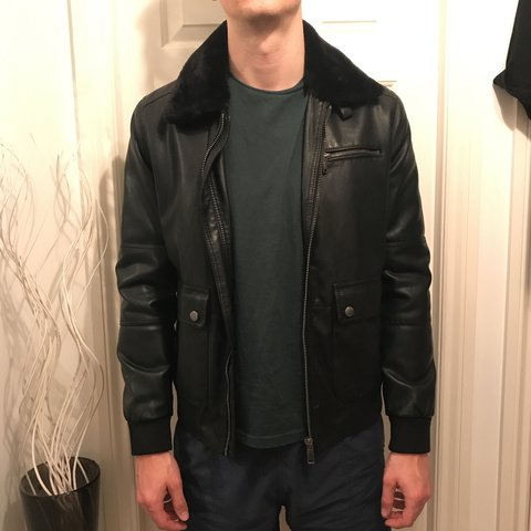 3dc1dcb3 @jennymarie21. last year. Orrell, United Kingdom. Zara Men's Faux Leather  Jacket with fur collar size XL ...
