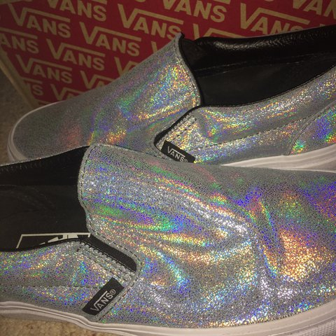 f70a1f03fd76f6 Holographic Vans Size 4.5 Worn once but do not fit Come - Depop