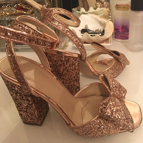 29cb47c70 ASOS Rose Gold bow glitter sparkle heels ✨ Size 2 but will - Depop