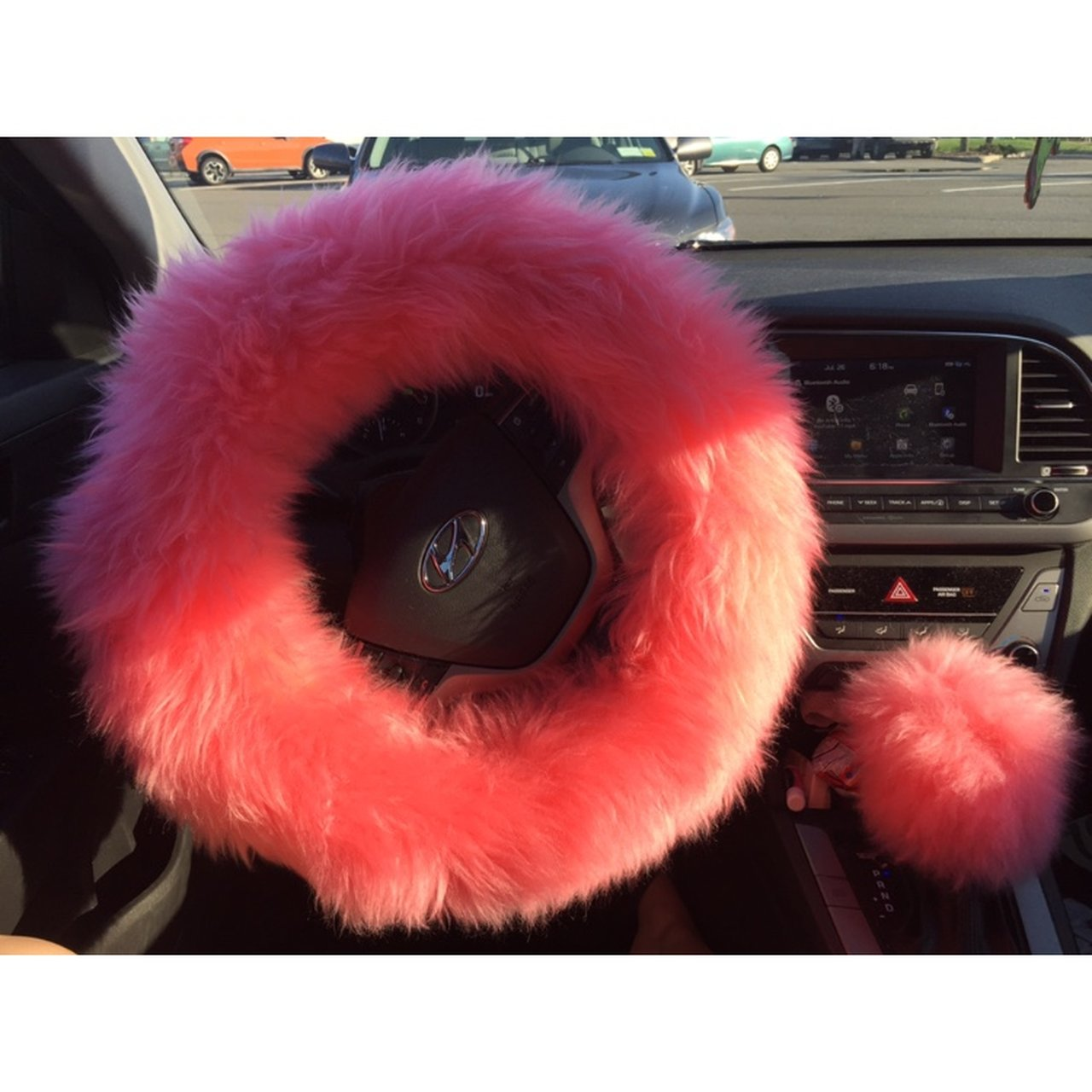 Fuzzy Pink Steering Wheel Cover With Shifter Cover Depop