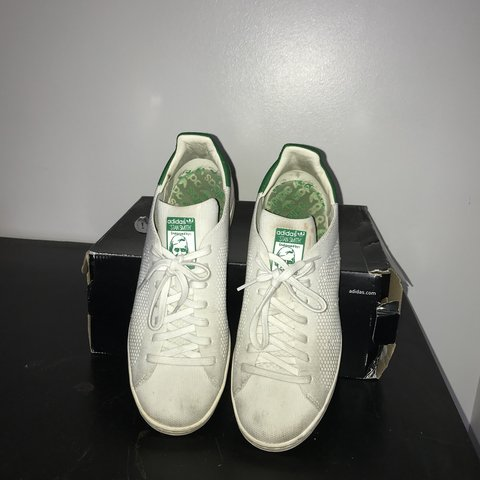 Adidas Stan Smith primeknit shoe white green Size UK 8 In - Depop 2a23df49a