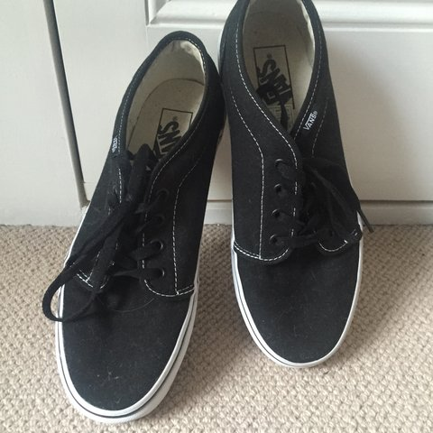 Plain black low top vans worn once great condition size 6 - Depop 3c7155a2a