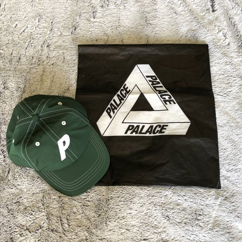 "f3c83eb21bc PALACE 6 PANEL ""P"" GREEN CAP   DAD HAT PALACE P LOGO ON — A - Depop"