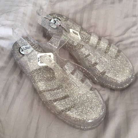 8875df909eae Juju jelly shoes. Sparkle white silver. Bought from topshop - Depop