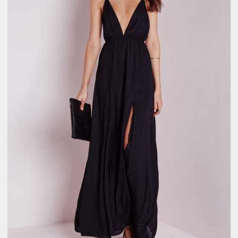 5293d53b1ef Black plunge maxi dress size 8 - please note I have the NON - Depop
