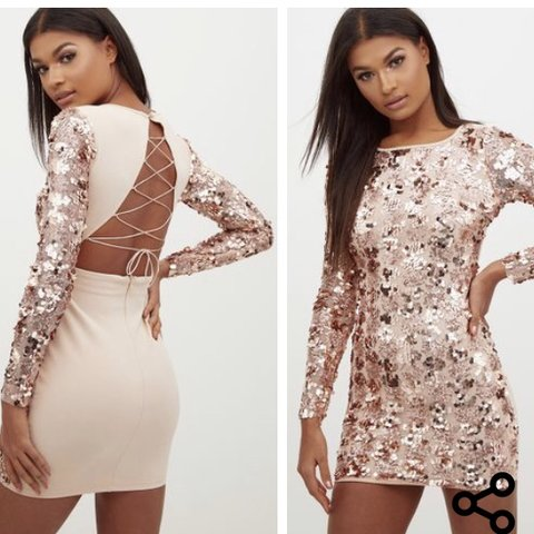 a638bc02e745 @sim0nestew4rt. 11 days ago. Perth, United Kingdom. Rose gold sequin front  long sleeve back tie detail bodycon dress ...