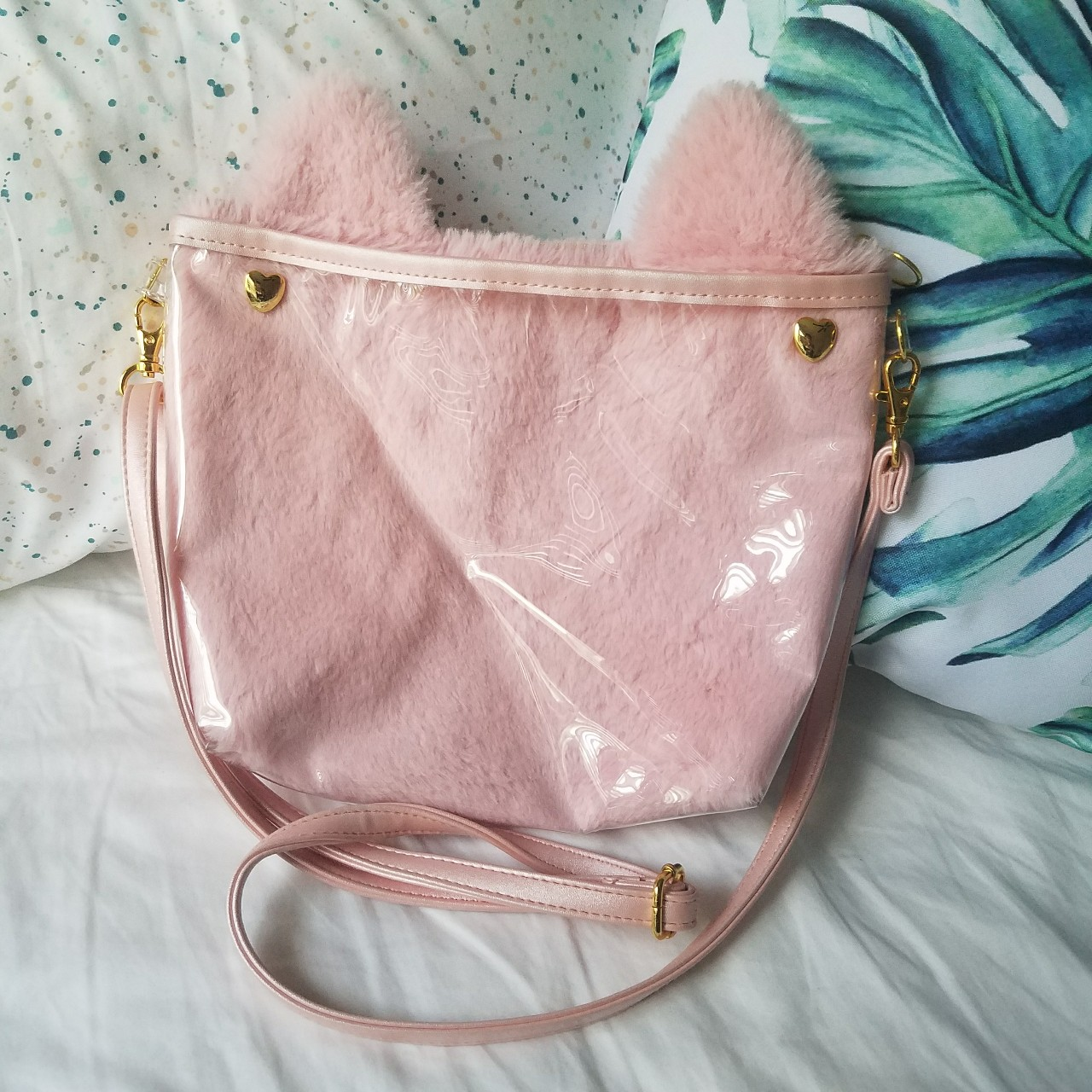 fluffy pink cat ear Fanfare Itamate ita bag 🐱 super    - Depop