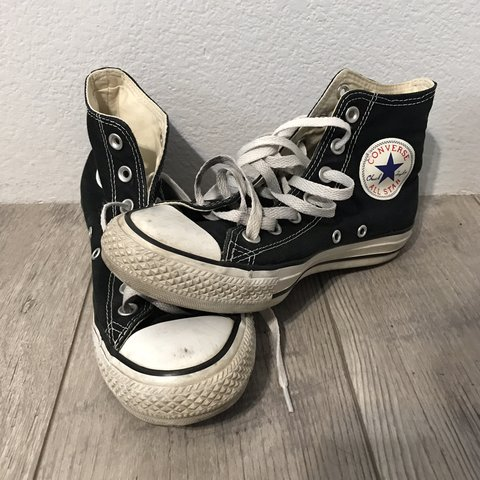 dabc5693bf82ef Old Used Worn Out Broken-In Hightop Black White Converse All - Depop