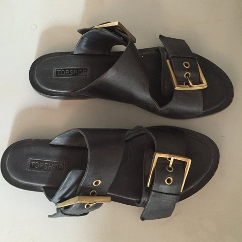a44bb6e4eabd Topshop black double strap leather sandals   flip flops with - Depop