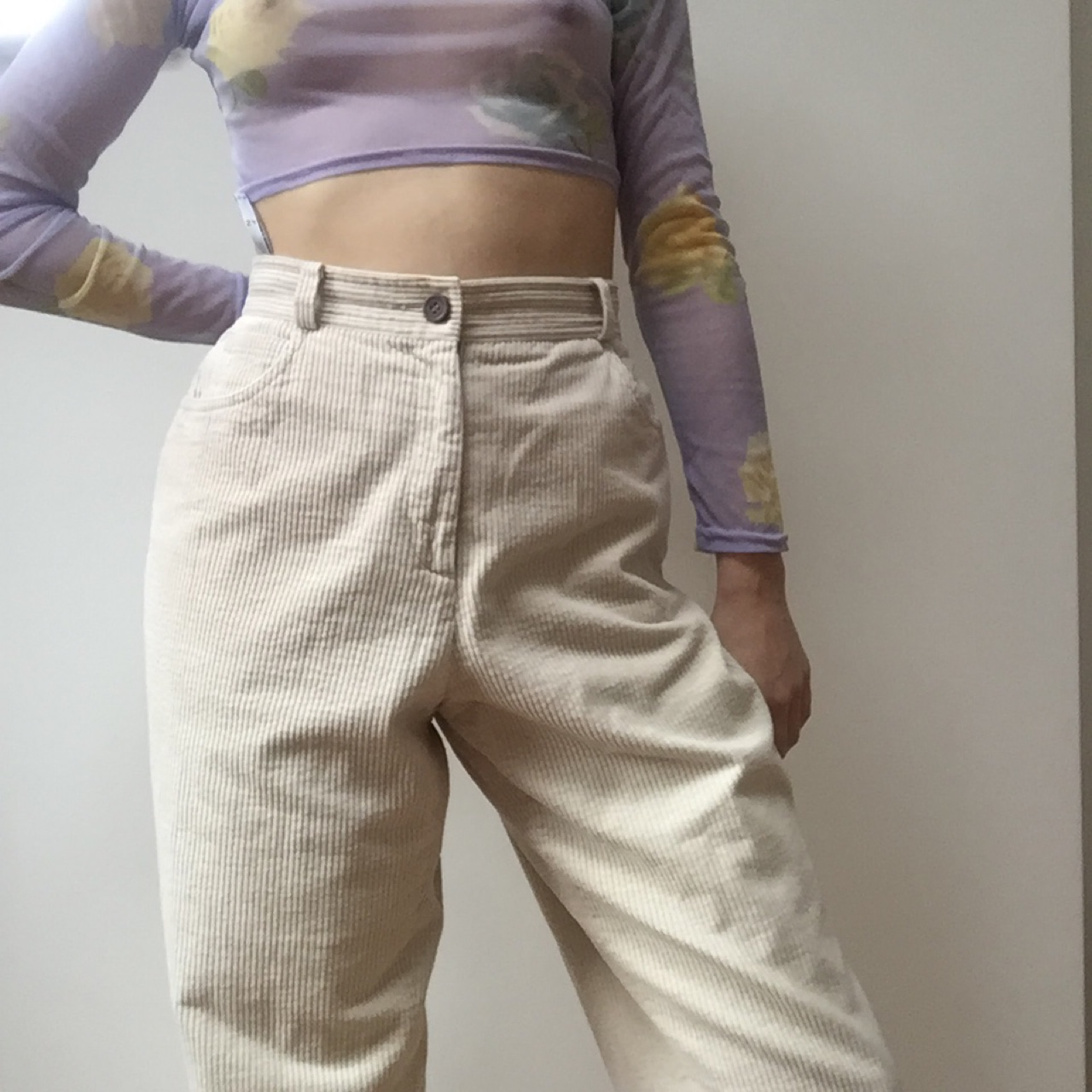 top-rated quality most fashionable for sale insane cream thick corduroy pants. These trousers... - Depop