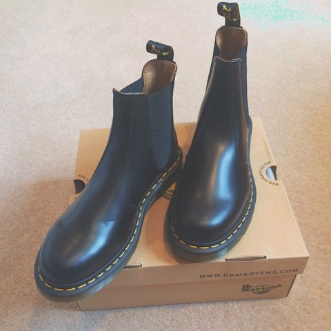 f0ee44d7c80b Dr Martens Black 2976 Chelsea Boot with Yellow Stitch UK 6 a - Depop