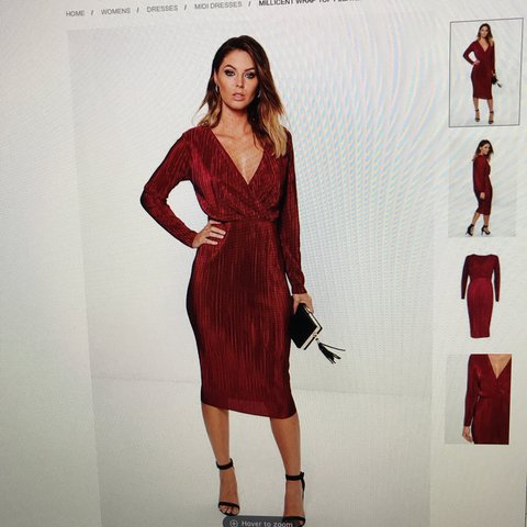 d6442782c19 Red wine wrap midi dress from Boohoo size 8 Like POSTAGE - Depop