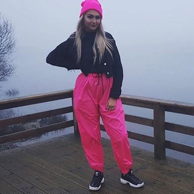 fashion style of 2019 on sale online outlet on sale pretty little thing neon pink shell suit joggers... - Depop
