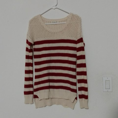 390295f6911 Red and beige striped sweater Adorable striped knit by the - Depop