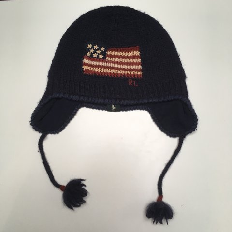 16aeb45803eef Vintage U.S Polo Ralph Lauren Woolly hat. Navy blue with - Depop