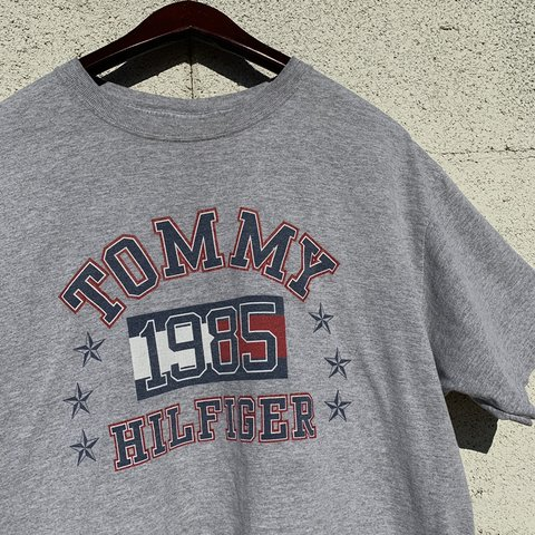 23518dd7 Vintage Tommy Hilfiger Varsity spell out tee Flag logo with - Depop