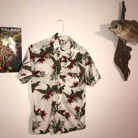 1d1c5ac8 @seanscate. last year. Annapolis, United States. HAWAIIAN SHIRT ALERT  QuikSilver medium Hawaiian shirt button down red and white flowers light  comfortable