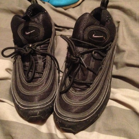 e8c02113f5 Nike air max 97 black poor condition laces are ripped - Depop
