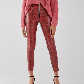 most desirable fashion sports shoes online store Red snake skin leather pants from bershka for sale - Depop