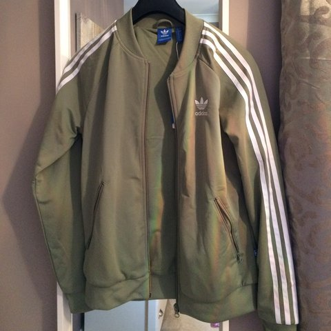khaki green adidas jacket womens