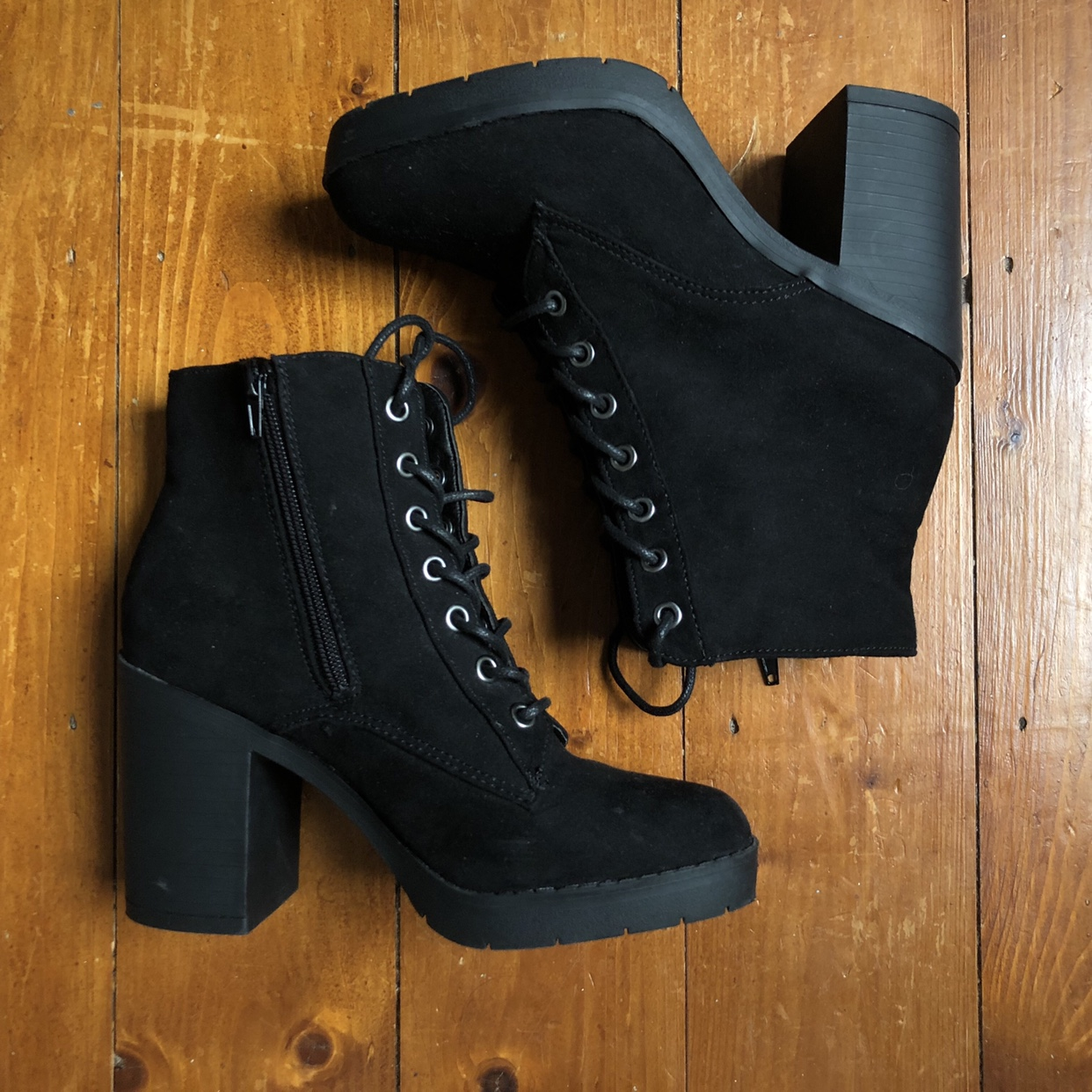 Primark Lace Up Boots Black Suede Size