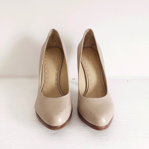 91e0c18aed @saykeats. 2 years ago. Kings County, United States. Nine West nude pumps  with wood heel and sole. Reduced! Worn ...