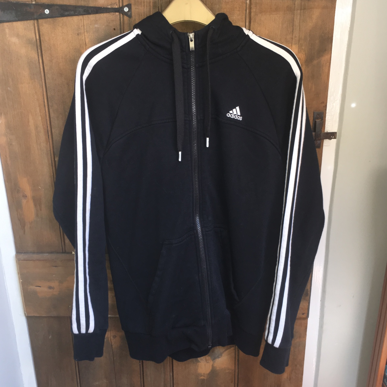 Adidas performance essentials hoodie with zip. Black Depop
