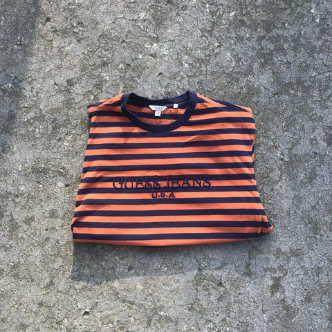 d143779271 @qualitythriftsandmore. last year. Tullahoma, United States. ASAP Rocky  Guess Orange and Navy Striped Tee 100 % Authentic Size Medium 9/10 ...