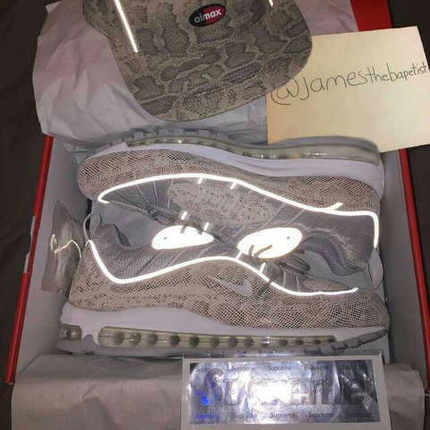94693c47182fb  490 shipped DEADSTOCK SIZE 11 Supreme Nike Air Max 98 W  3M - Depop