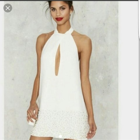 11dea342c15 Nasty gal   nastygal white halter neck dress with low sides - Depop