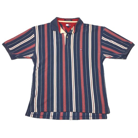 85aa2be4 @theoutfieldvntg. 7 months ago. Orlando, United States. Vintage 90's Tommy  Hilfiger Multi Colored Striped Polo Shirt Men's Large