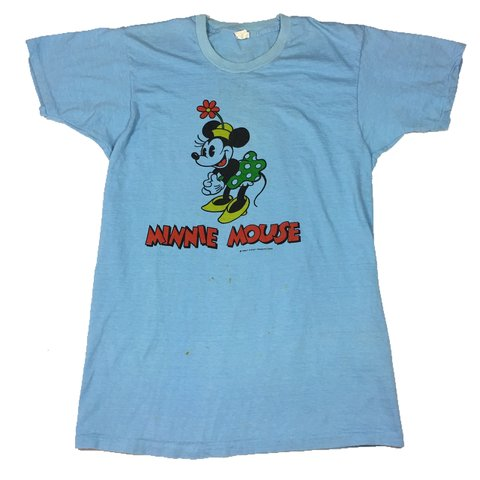 3bbae1789d93 @theoutfieldvntg. 2 months ago. Orlando, United States. Vintage 80's  Disney's Minnie Mouse Light Blue Double Sided T-Shirt