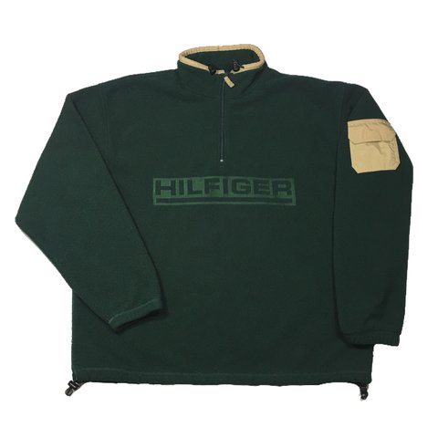 cebe894f @theoutfieldvntg. 2 months ago. Port Charlotte, United States. Vintage 90's  Tommy Hilfiger Green Fleece Spell Out ...