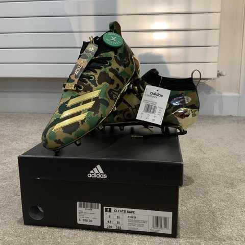 8fef19865 Bape x Adidas Green gold football boots or cleats Size us 9 - Depop