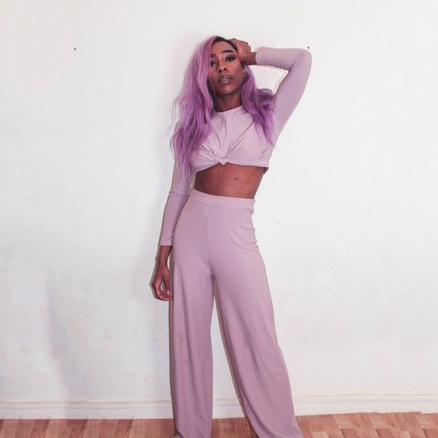 ba6b769a2ac5 The FEO collection 2 piece mauve set, crop top and trousers - Depop