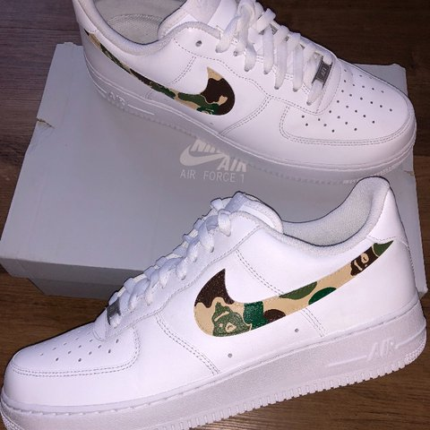 e2a6701e84 greece mens size 11 custom made nike air force 1 x bape camo once depop  757b5