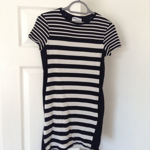 dd48c0c4 Zara basic monochrome striped t-shirt dress, size small. of - Depop