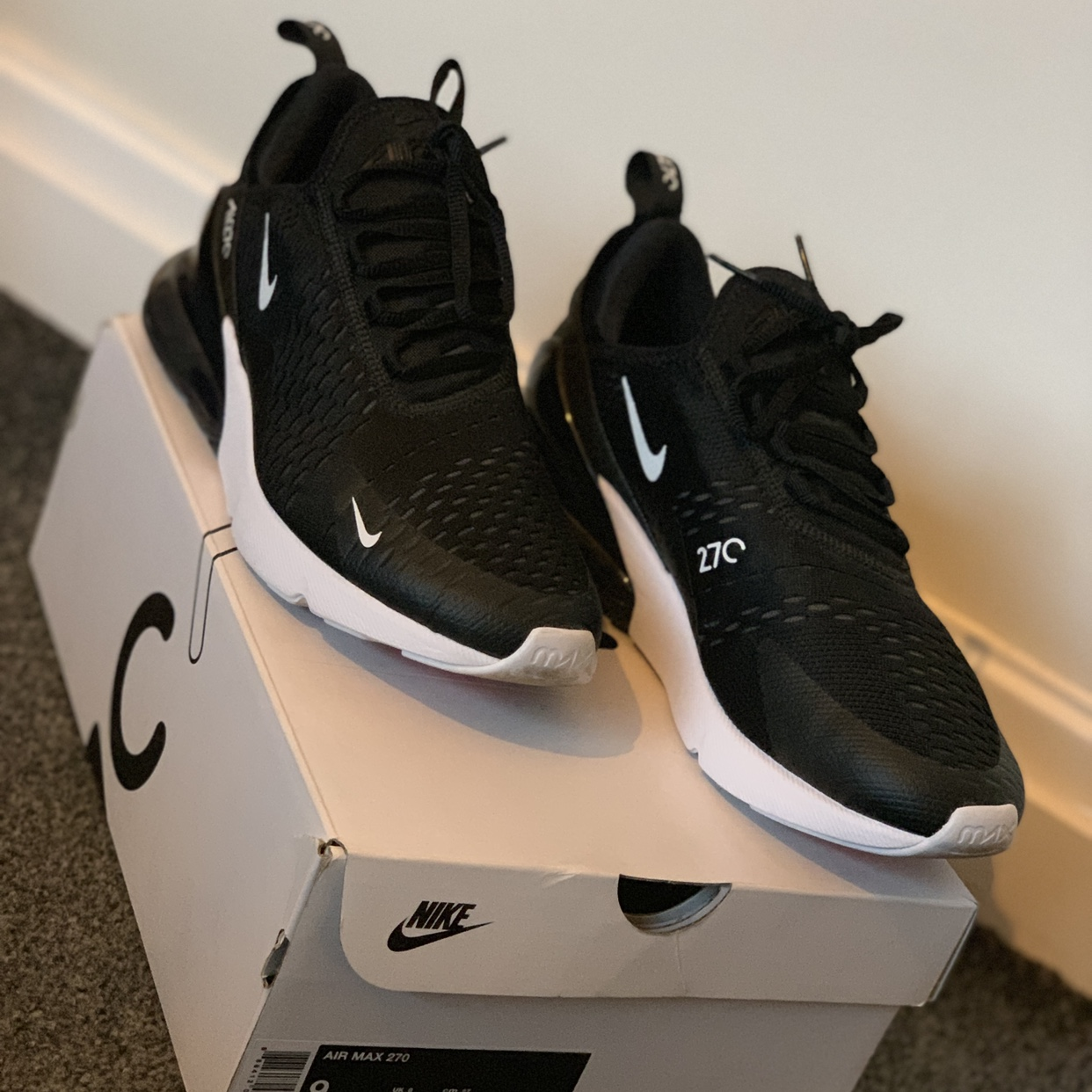 Nike, air max all black. White spots on sole. Depop