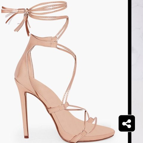 1ad847fc3eb Pretty Little Thing Rose Gold PU Tassel Lace Up Heels. Size - Depop
