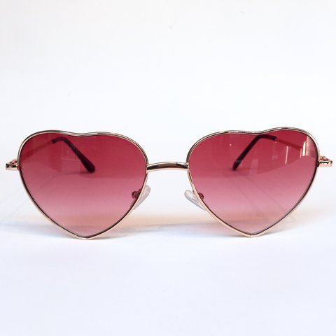 8b442449be Heart shaped sunglasses with rose tinted lenses. UV400. Free - Depop