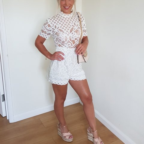 02729d84eba MISSGUIDED WHITE LACE PLAYSUIT. open back with zip and Worn - Depop