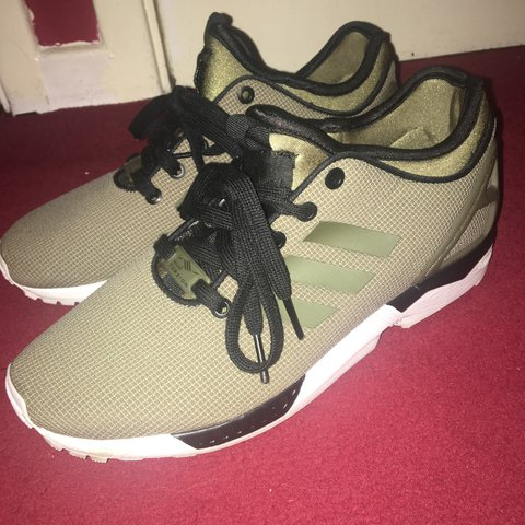 50b9cde29278f ADIDAS ZX FLUX - KHAKI - PERFECT CONDITION -WORN ONCE - Depop