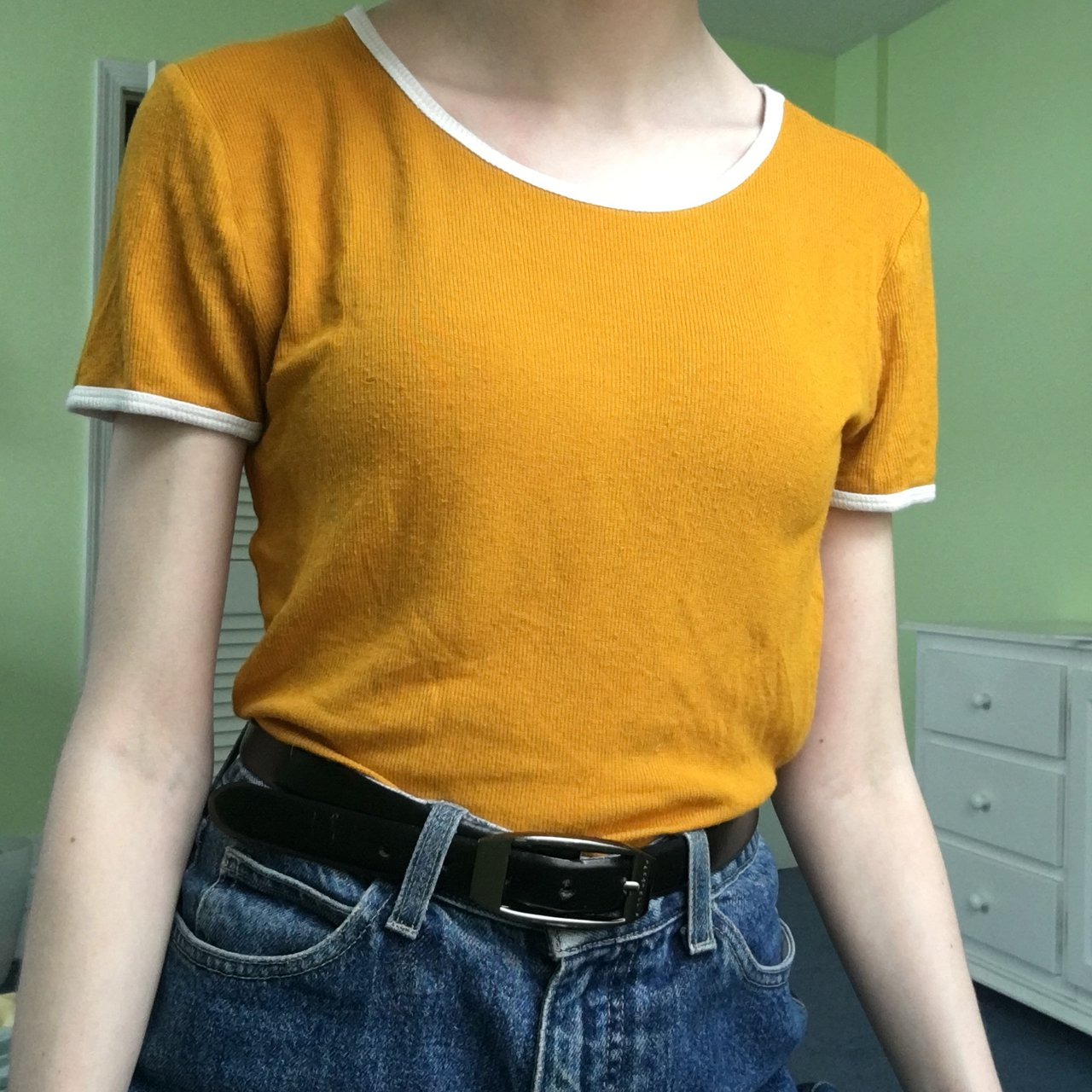 d2a1368c65 mustard yellow and white ringer tee -tag has been cut but - Depop